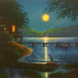 A Quiet Riverside by Moonlight size - 12x16In - 12x16