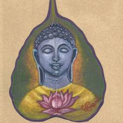 Peace on Peepal leaf size - 8x11In - 8x11