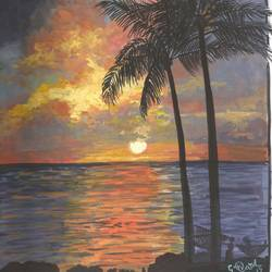 Beautiful Sunset on a sea shore. size - 8.5x10.5In - 8.5x10.5