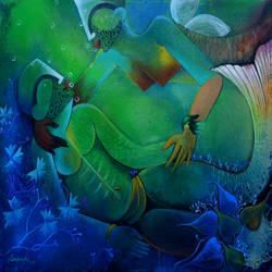 underwater romance  size - 48x36In - 48x36