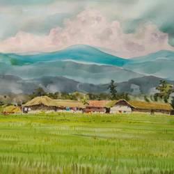 Tribal village  size - 20x13In - 20x13