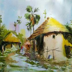 Village of Bengal  size - 29x14In - 29x14