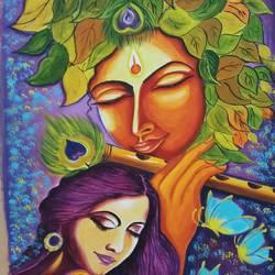 Radha Krishna Sangam size - 18x24In - 18x24