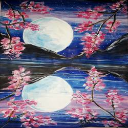 Moon light reflection painting size - 10.5x13In - 10.5x13