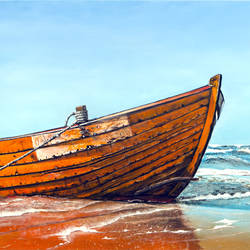 Battered by the sea size - 36x24In - 36x24