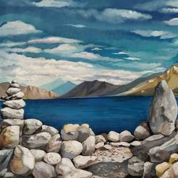 Beautiful Pangong lake Ladakh size - 34x24In - 34x24