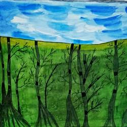 Modern Painting  Woods size - 10.8x13.6In - 10.8x13.6