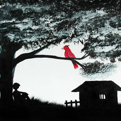 Red Bird with Lonely Boy under Tree size - 20x30In - 20x30