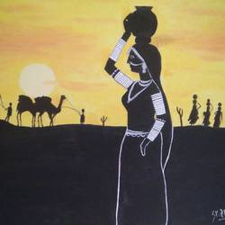 Rajasthani lady during sunset  size - 18x14In - 18x14