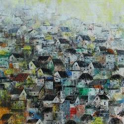 The Village houses size - 36x24In - 36x24