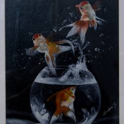Acrylic gold fish in blow (painting) size - 10x16In - 10x16