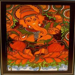 Dhristi Ganesha Kerala Mural Painting size - 25x17In - 25x17