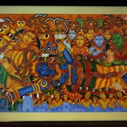 Anathashayanam (Vishnu) Kerala Mural Painting size - 40x28.5In - 40x28.5
