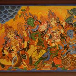Musicians Kerala Mural Painting  size - 26x20In - 26x20