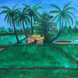 Village life - Farming lands size - 16x11In - 16x11
