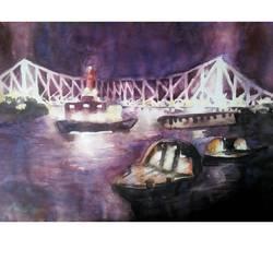 KOLKATA'S HOWRAH BRIDGE AT NIGHT size - 22x14In - 22x14