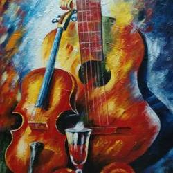 Guitar Painting size - 24x36In - 24x36