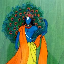 Krishna peacock size - 8x10In - 8x10