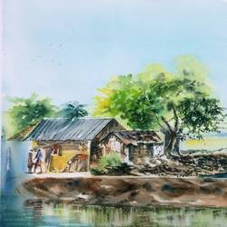 Nature Painting-A Day in Shikharpur size - 25x17In - 25x17