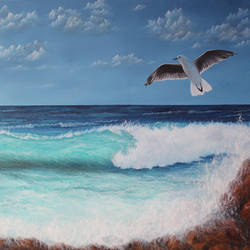 Sea Beach with Seagull size - 48x36In - 48x36
