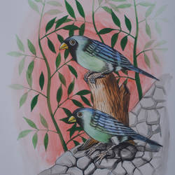 Birds Painting 44 size - 9x12In - 9x12