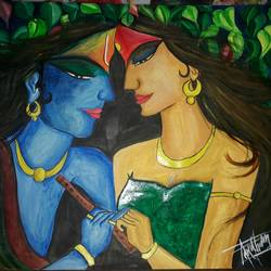 Radha Krishna love painting size - 11x13In - 11x13