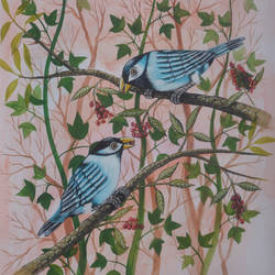 Birds Painting 46 size - 9x12In - 9x12