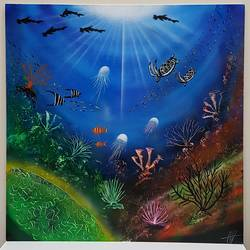 Underwater world's  size - 24x24In - 24x24