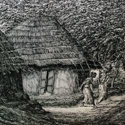 Fine Arts - Kharibari village Life I size - 14x9In - 14x9