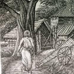 Fine Arts - Santiniketan VI size - 10x17In - 10x17