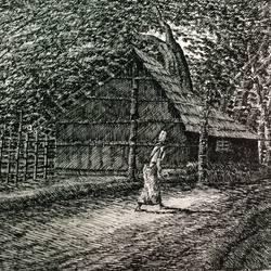 Fine Arts - Kharibari village Life III size - 14x9In - 14x9