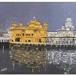 Golden Temple size - 16x12In - 16x12