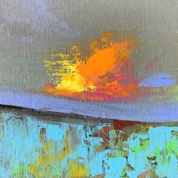 Fire in the Sky !! Abstract !! size - 6x6In - 6x6