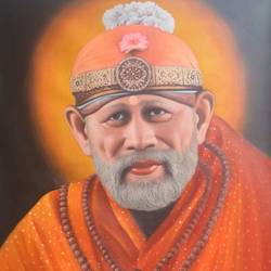 Customized Sai Baba Oil Painting  size - 31x39In - 31x39