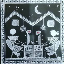 Warli Painting Love story _ they start chitchat _2 size - 6x6In - 6x6