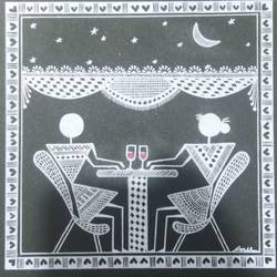 Warli Paintings Love story _date_3 size - 6x6In - 6x6