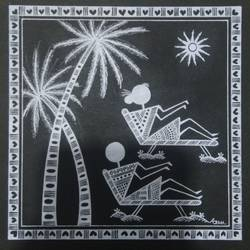 Warli Painting Love story honeymoon size - 6x6In - 6x6