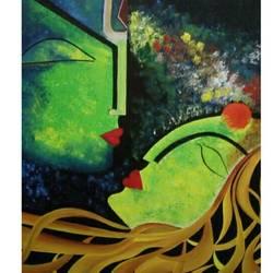 Shiv Parvati spiritual art size - 36x30In - 36x30