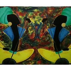 Rajasthani folk paintings size - 36x30In - 36x30