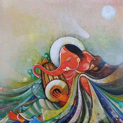 Musician Ganesha size - 24x24In - 24x24