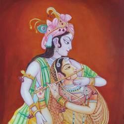 Radha Krishna Painting size - 17x24In - 17x24