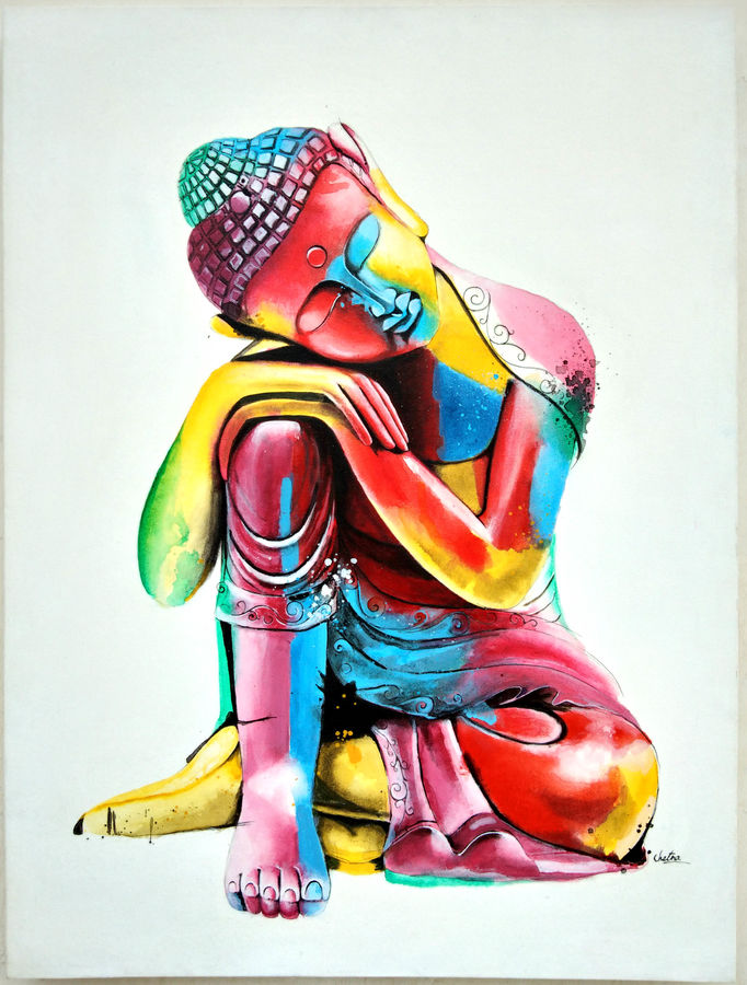 buddha, 30 x 40 inch, chetna bernela,buddha paintings,figurative paintings,religious paintings,paintings for dining room,paintings for living room,paintings for bedroom,paintings for office,paintings for hotel,canvas,acrylic color,30x40inch,peace,meditation,meditating,colorful,sleeping,buddha,thinking,gautam,goutam,religious,GAL0784517263,peace,lordbuddha,inner,lordface,colourful,gautaum,buddha size - 30x40in,ADR9784517263
