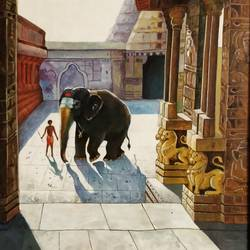 South Indian temple size - 24x36In - 24x36