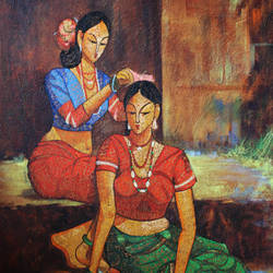 Mandna painting size - 33x48.75In - 33x48.75