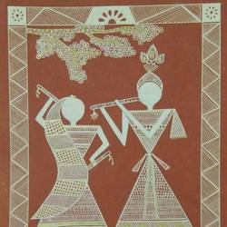Warli Paintings Radha krishna size - 11x8In - 11x8