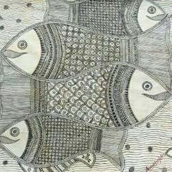 Madhubani Painting Fishes size - 14x10In - 14x10