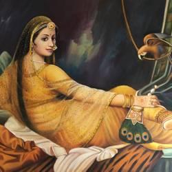 Royal Rajasthani Princess size - 36x24In - 36x24