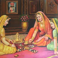 THREE RAJASTHANI WOMEN PLAYING  size - 36x24In - 36x24
