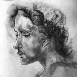 Woman's portrait in charcoal... size - 16x11In - 16x11