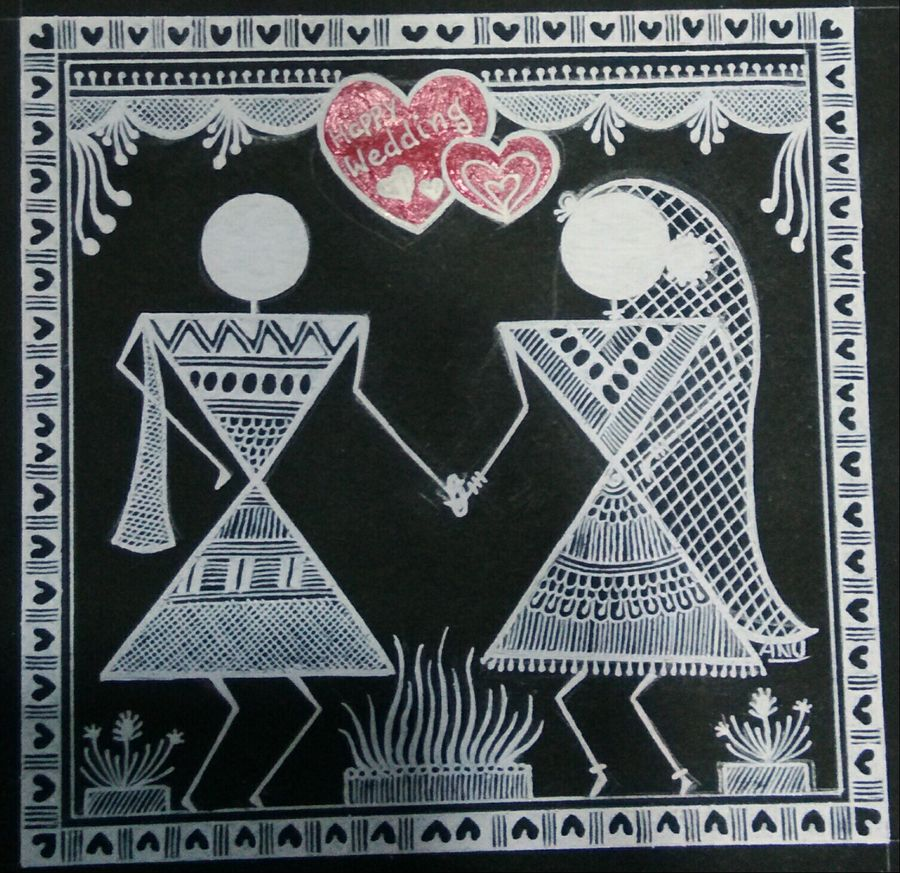warli painting love story 10, 6 x 6 inch, anushree  jain,love paintings,warli paintings,miniature painting.,paintings for dining room,paintings for living room,paintings for bedroom,paintings for hotel,thick paper,pen color,6x6inch,GAL0765717379heart,family,caring,happiness,forever,happy,trust,passion,romance,sweet,kiss,love,hugs,warm,fun,kisses,joy,friendship,marriage,chocolate,husband,wife,forever,caring,couple,sweetheart,warli painting love story 10 size - 6x6in,ADR9765717379